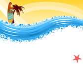 Vacaciones de verano - surf en playa tropical — Vector de stock