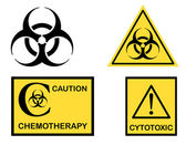 Bio hazard Cytotoxic and Chemotherapy symbols — Stock Vector