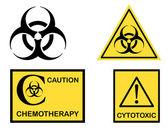 Bio hazard Cytotoxic and Chemotherapy symbols — Stock Vector
