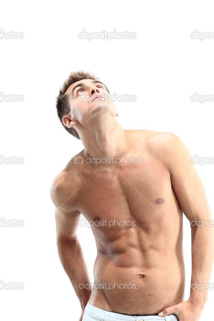 Portrait of a muscular man posing against white background — Stock Photo #11043071