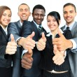 Business group with thumbs up isolated over white background — Stock Photo