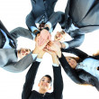 Closeup portrait of group of business with hands together — Stock Photo #11782436