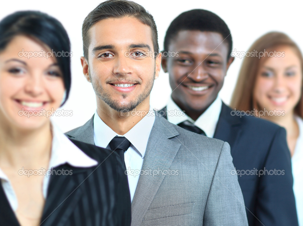 Happy smiling business team standing in a row — Stock Photo #11781966