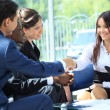 Happy smiling businesswoman shaking hands after a business meeting - Foto Stock