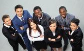 Widok z góry biznesu z ich rąk razem — Zdjęcie stockowe