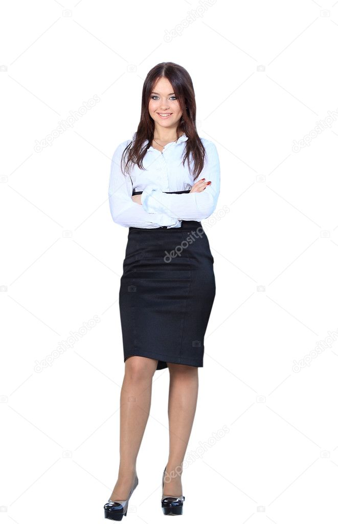 Business woman standing in full body smiling happy at ...