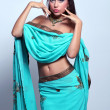 Woman in indian turquoise sari — Stock Photo