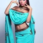 Woman in indian turquoise sari — Stock Photo