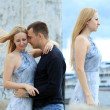 Young couple in love outdoors - Photo