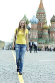 Woman on moscow background — Stock Photo