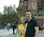 Young couple in the Moscow city — Stock Photo