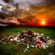 Trash on the field — Stockfoto
