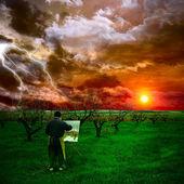 Молодой художник живопись Осенний пейзаж — Стоковое фото