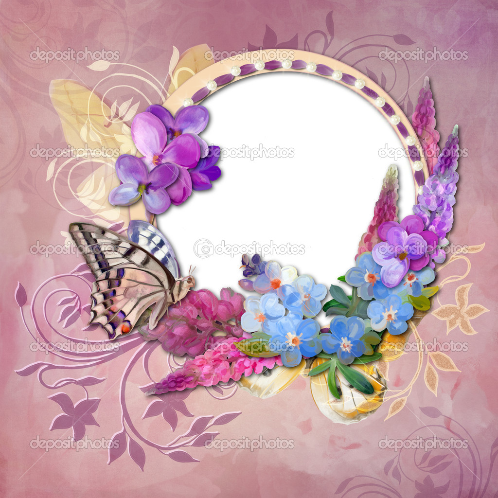 Frame with Drawing flowers and butterfly on pink background — Stock Photo #11818927
