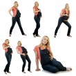 Collage of portraits of the beautiful pregnant woman - Stock Photo