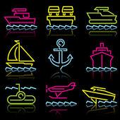 Lijn pictogrammen water trans — Stockvector
