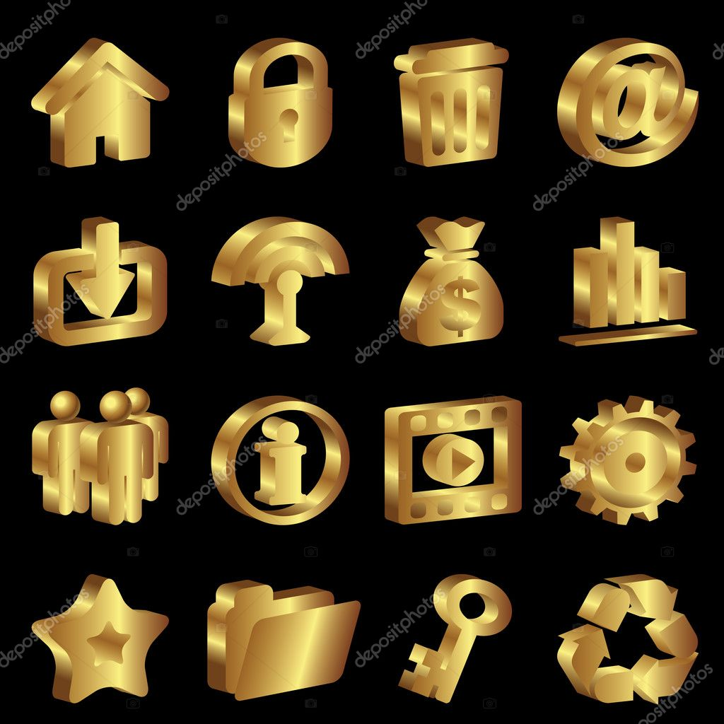 Gold Png Vector Vector Set Gold Icons For Web