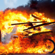 Motorbike ride through the fire — Stock Photo