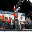 Franck Cammas with the Volvo Ocean Race trophy - Stock Photo