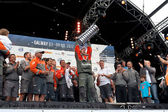 Franck Cammas with the Volvo Ocean Race trophy — Stock Photo