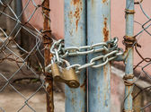 Padlock and metal gate — Stock Photo