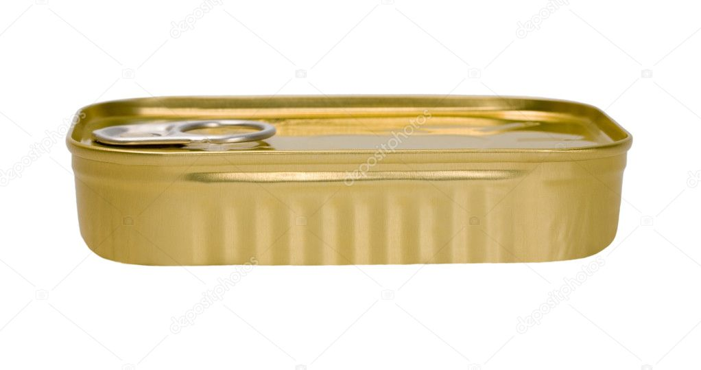 Tin can of conserved food isolated on a white background — Stock Photo #10994057