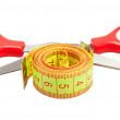 Measuring tape and scissors — Stock Photo