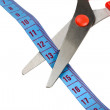 Scissors and blue tape measuring — Stock Photo