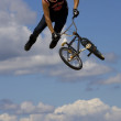 Bmx biker performing in the Maximum Velocity show at Long Island — Stock Photo