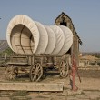 Western covered wagon on yard of Fort — Stock Photo