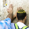 Jewish praying at the wailing wall - Stock Photo
