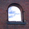 Castel window with blue sky — Stock Photo