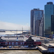 NEW YORK CITY -Apr 21. The historic Pier17 with the modern offic - Stock Photo