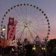 View of evening amusement park - Stock Photo