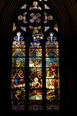 Glasfenster. st.patrick's cathedral in new york. — Stockfoto