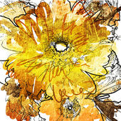 Tarjeta del arte grunge fondo floral — Foto de Stock