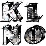 Art sketching set of alphabet on white background 3d — Stock Photo
