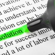 Stock Photo: Highlighter and word solution