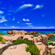 Panorama of tropical beach at Seychelles — Stock Photo #10740238