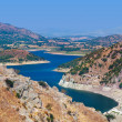 View from ancient city of Pergamon to the lake - Turkey - Stock Photo
