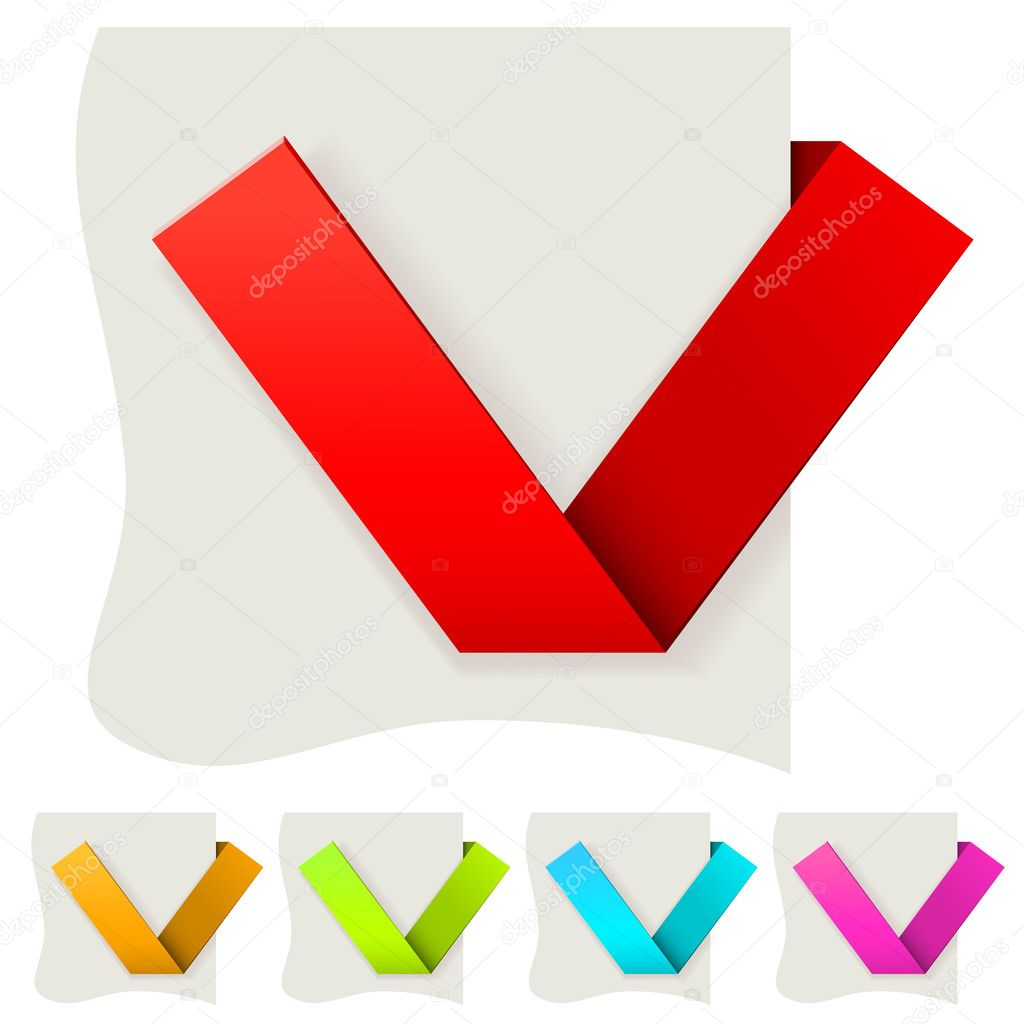 Folded paper tick vector template with several color variants.  Stock Vector #11469665
