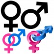 Male and female signs — 图库矢量图片