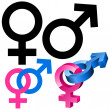 Male and female signs - Stock Vector