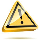 3D yellow warning sign — Stock Vector