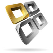 3D rounded steel squares with golden one. — Vecteur