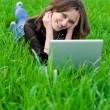 The girl with laptop - Stock Photo