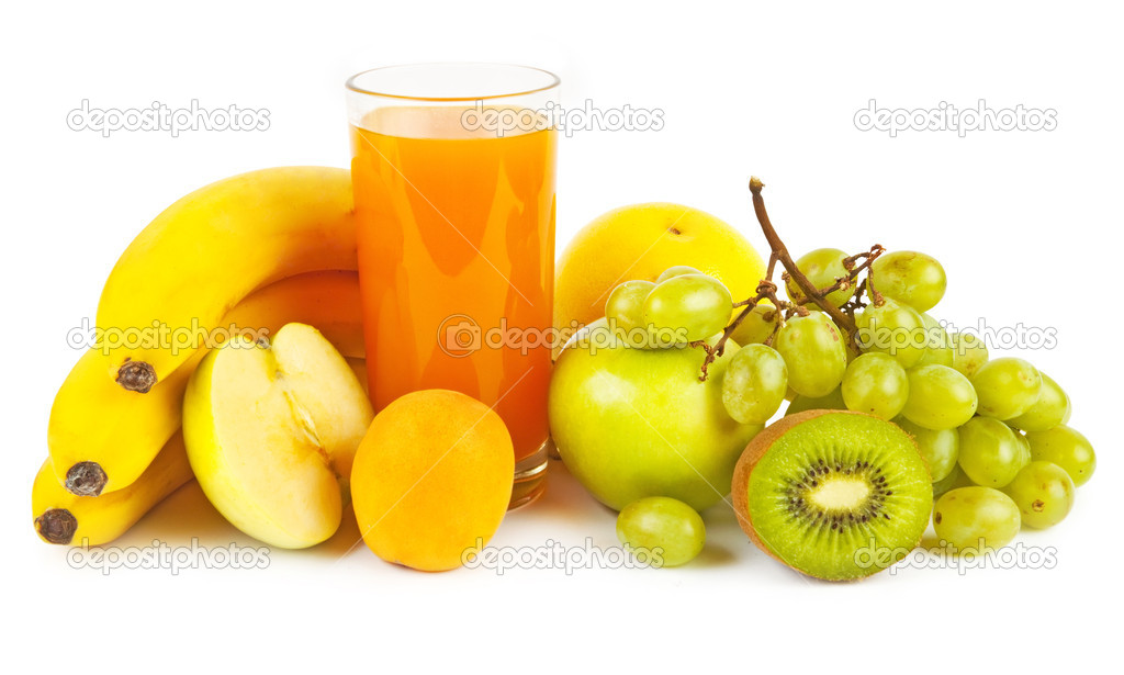 Collection from many fruits and jusices in glasses on white — Stock Photo #11142642