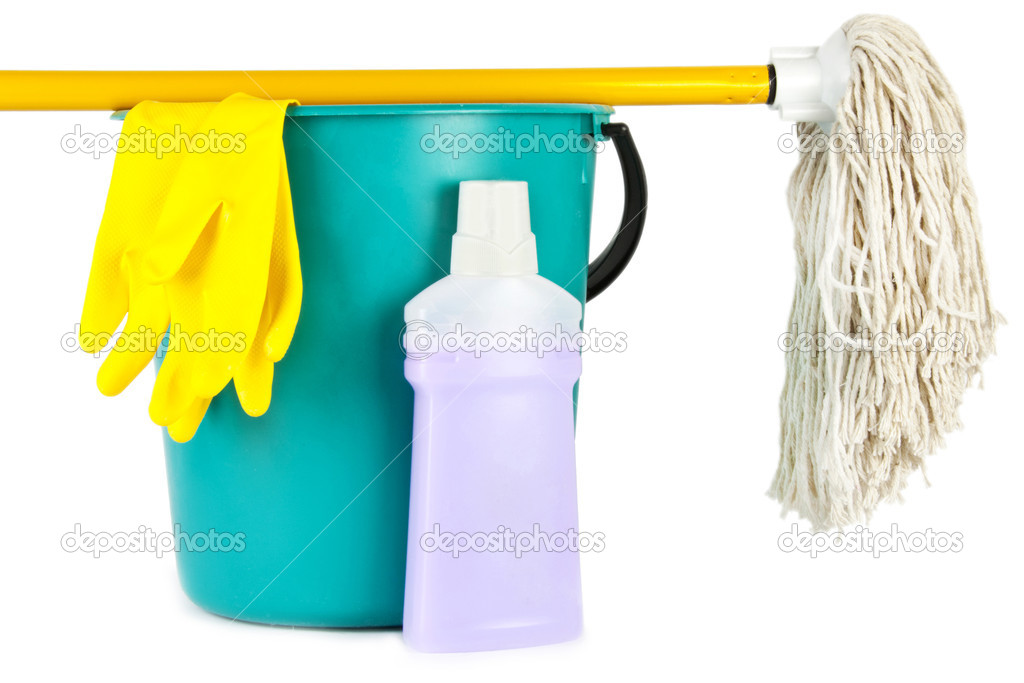 Bucket, mop and cleaning bottle isolated on white background — Stock Photo #11142751