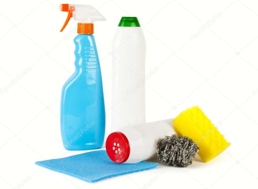 Cleaning products. Bottles, sponges and gloves — Stock Photo #11144111