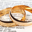 Two wedding rings on a bible — Stok fotoğraf